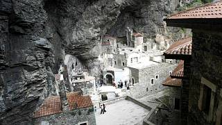 Inside the Sumela Monastery and perched at 1,200 meters on the facade of a cliff in Altindere National Park near Macka, northeast Turkey.