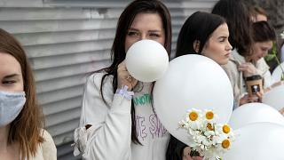 Protesters are taking to the streets with balloons and flowers in Minsk