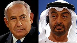 Israeli Prime Minister Benjamin Netanyahu (L) and Abu Dhabi's Crown Prince Mohammed bin Zayed