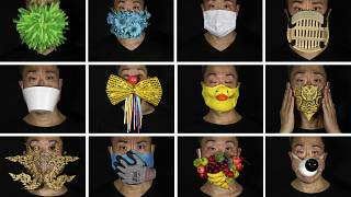 Edmond Kok, a Hong Kong theater costume designer, wearing a variety of face masks he made to protect against the coronavirus.
