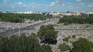 Manifestación masiva en Minsk