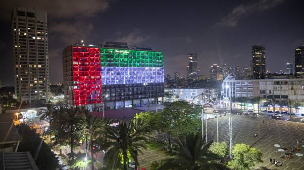 FILE - In this Thursday, Aug. 13, 2020 file photo, the Tel Aviv City Hall is lit up with the flag of the UAE after a deal with Israel to establish diplomatic ties.