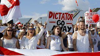 Manifestations  à Minsk contre le président réélu Alexandre Loukachenko le 16 août 2020