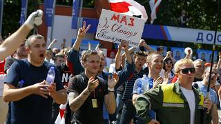 Рабочие Минского завода колёсных тягачей на митинге
