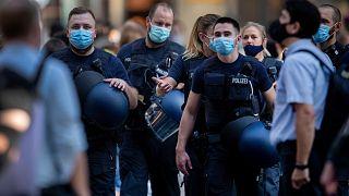 German police officers wear face mask in Frankfurt, Germany, on July 22, 2020.