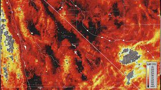 Temperatura de superficie terrestre en el Valle de la Muerte este domingo