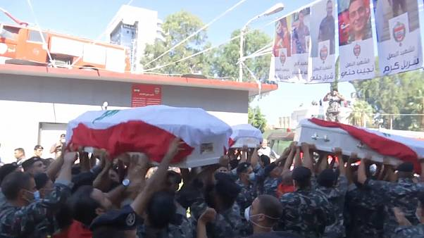 A funeral was held for three Lebanese firefighters who died in the explosion in Beirut