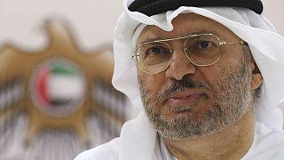 Anwar Gargash speaks to journalists in Dubai, United Arab Emirates, Monday, June 18, 2018.