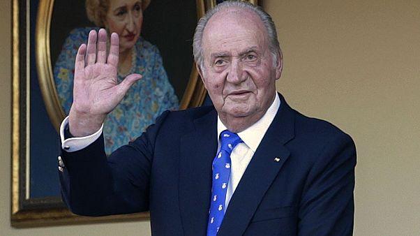 June 2, 2019 file photo, Spain's former King Juan Carlos waves during a bullfight at the bullring in Aranjuez, Madrid, Spain.