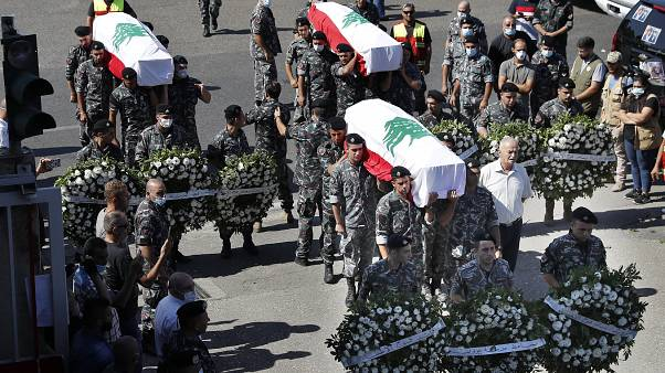 Похороны пожарных в Бейруте