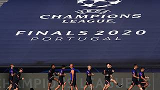 Leipzig players exercise during a training session at the Luz stadium in Lisbon, Monday Aug. 17, 2020