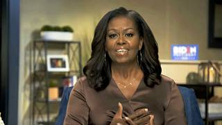 In this image from video, former first lady Michelle Obama speaks during the first night of the Democratic National Convention on Monday, Aug. 17, 2020.