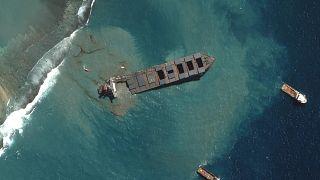 Légi felvétel a tankerhajóról