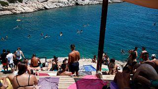 Yunanistan'da bir plaj