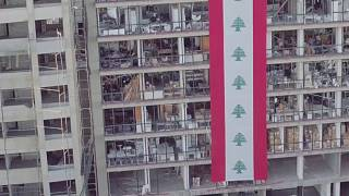 Drone footage of Lebanon' explosion aftermath
