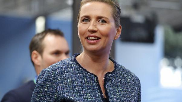 Danish Prime Minister Mette Frederiksen arrives for an EU summit at the European Council building in Brussels, Friday, Feb. 21, 2020