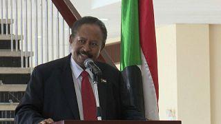 رئيس الوزراء السوداني عبد الله حمدوك في مؤتمر صحفي بالخرطوم 15 آب أغسطس  2020