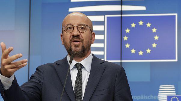 EU-Ratspräsident Charles Michel nach dem Treffen.