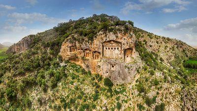 Lycian King Tombs of Kaunos in Dalyan, Turkey