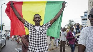 A man holds a national flag as he celebrates with others in the streets in the capital Bamako after a mutiny in Mali.