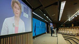 Avrupa Birliği liderler zirvesi sonrası AB Konsey Başkanı Charles Michel ve AB Komisyon Başkanı Ursula Von der Leyen telekonferansla ortak basın toplantısı düzenledi