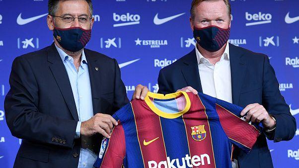 Barcelonas Präsident Josep Bartomeu und Neu-Trainer Ronald Koeman