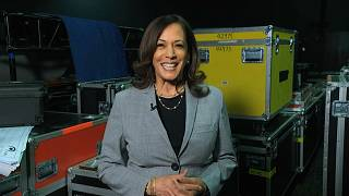 In this image from video, Democratic vice presidential candidate Sen. Kamala Harris, D-Calif., speaks about voting during the 3rd night of the DNC, 2020.