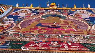 Tibet: Geleneksel Yoğurt Festivali (Shoton), 'Buda güneşlenmesi' ile başladı