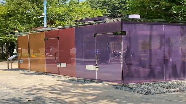 مراحيض زجاجية شفافة وملونة للاستخدام في طوكيو