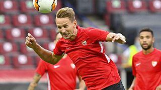 Sevillas Luuk de Jong beim Training am Donnerstag in Köln