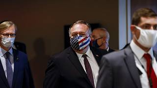 Secretary of State Mike Pompeo departs a meeting with members of the UN Security Council about Iran.