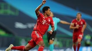 Bayern Munich's German midfielder Serge Gnabry celebrates after scoring a goal during the UEFA Champions League semi-final football match.