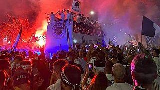 La festa dei tifosi dello Spezia per la prima storica promozione in Serie A