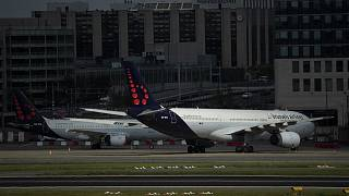 Planes from Brussels Airlines sit idle on the tarmac at Brussels Airport at the height of the coronavirus pandemic.