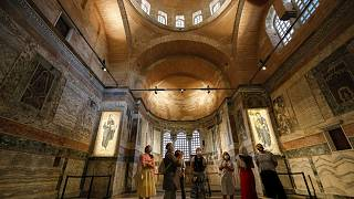 People visit St Saviour in Chora church, known as Kariye in Turkish, in Istanbul.