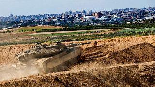 تانک اسرائیلی در مرز نوار غزه