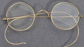 August 19, 2020 - A pair of glasses that once belonged to Indian independence icon Mohandas Karamchand Gandhi photographed at the action house in Bristol head of their sale