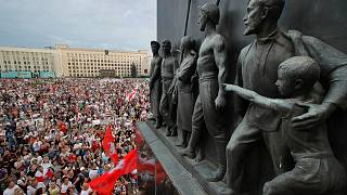 Aug. 18, 2020 - Belarusian opposition supporters gather for a protest rally in front of the government building at Independence Square in Minsk