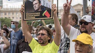 Плакат в поддержку Алексея Навального на митинге в Хабаровске