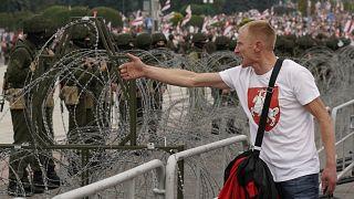 Manifestant à Minsk (Bélarus), le 23/08/2020