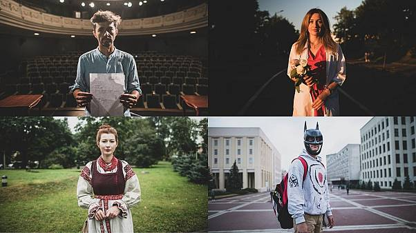 A combination of photographs featuring people participating in the protests demanding fair elections in Belarus