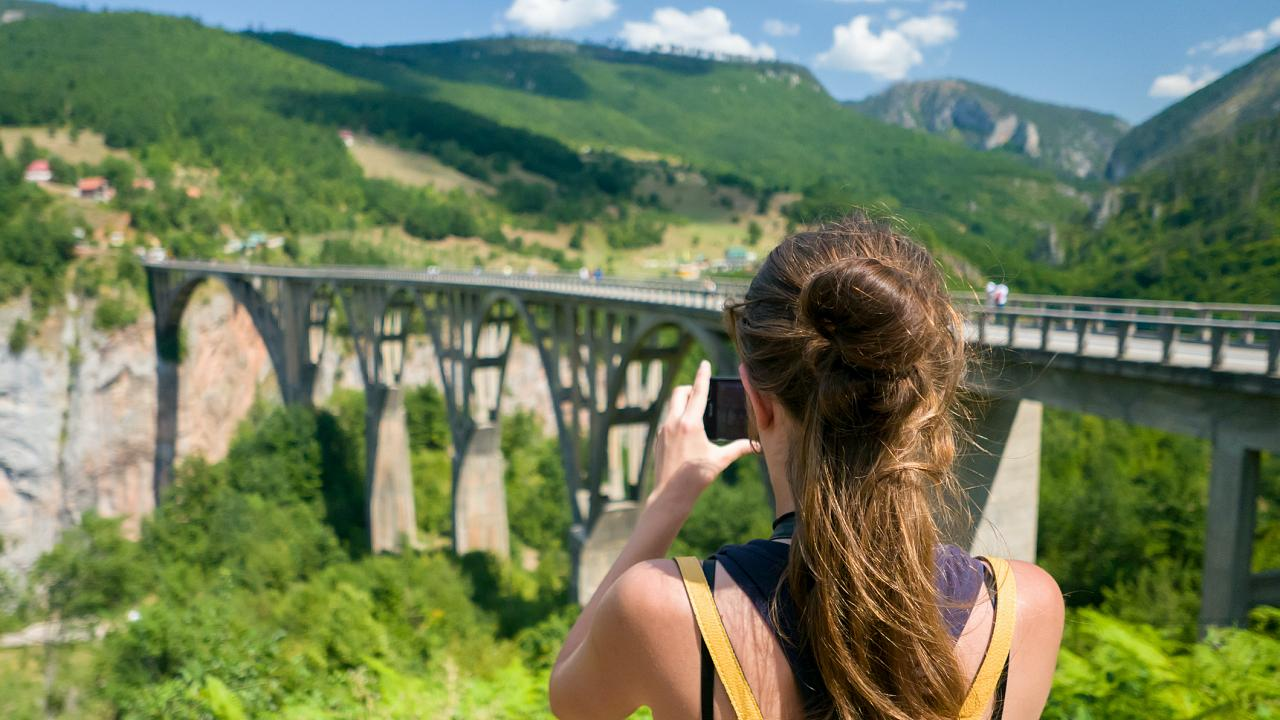 The Đurđevića Tara Bridge is located in northern Montenegro