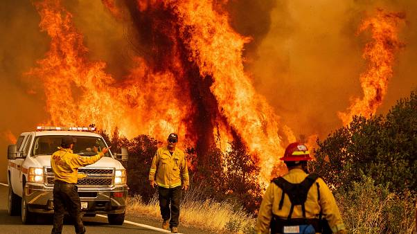 Firefighters fight the blaze in Lake County, California