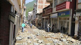 Flash floods in Turkey washed away roads and buildings over the weekend.