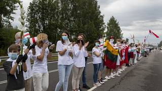 Huge human chain in Lithuania to show support for Belarus protesters