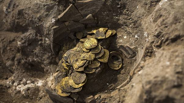 A hoard of gold coins discovered at an archeological site in central Israel.