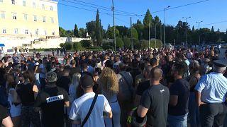 Protesto em Atenas