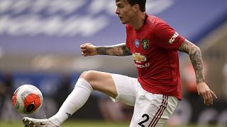 Manchester United's Victor Lindelof kicks the ball during the English Premier League match between Leicester City and Manchester United at the King Power Stadium.