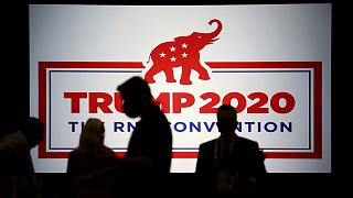 The room is set and delegates begin to arrive for the first day of the Republican National Convention