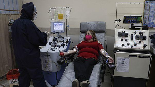 A survivor of the new coronavirus donates her plasma containing COVID-19 antibodies in Bolivia